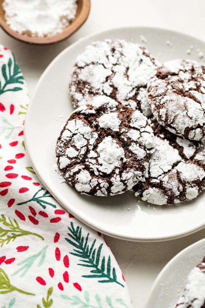 Close-up of a chocolate crinkle cookie.
