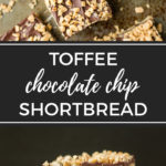 Toffee chocolate chip shortbread | A simple yet decadent bar cookie, perfect for Christmas baking and gifting! #toffee #shortbread #christmascookies