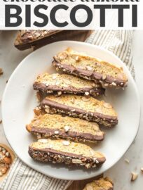 Chocolate-Dipped Almond Biscotti are crunchy, nutty, sweet Italian cookie bliss. Twice-baked and perfect for dunking into a hot cup of coffee or tea, biscotti are an easy and fun treat to make at home.