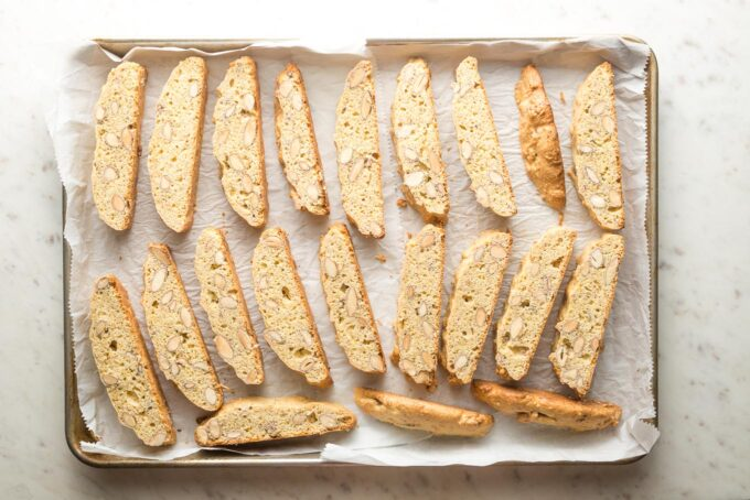 Sliced biscotti ready to return to the oven for its second bake.