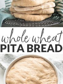 This super simple Whole Wheat Pita Bread blows store-bought versions out of the water! With an unbelievably soft, fluffy texture, a slightly sweet taste, and beautiful pockets, this is the only homemade pita recipe you need.