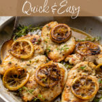 This quick and easy lemon thyme chicken recipe is a delicious go-to! Perfectly-cooked chicken with a simple sauce of garlic, herbs, white wine, and citrus. #lemons #easydinners #chicken
