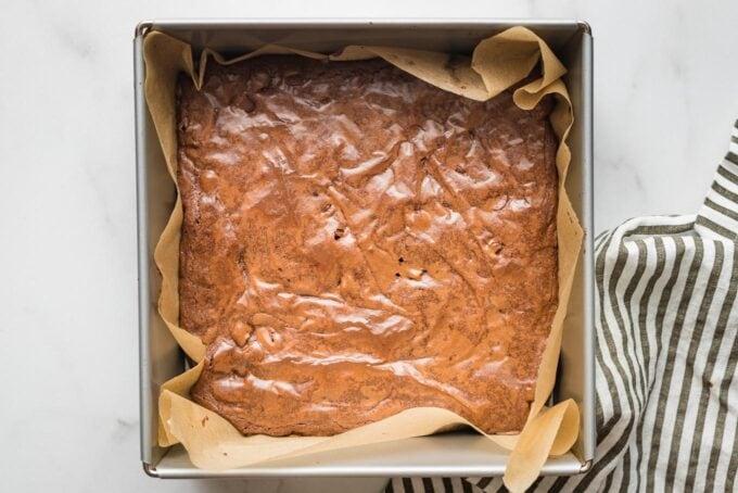 Baked brownies, uncut, in the pan.
