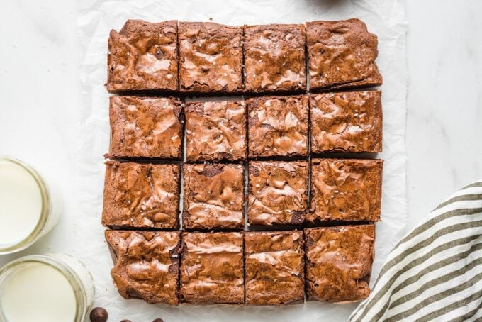 Brownies cut into 16 small squares.