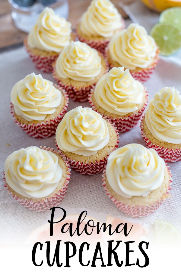 A citrus-filled, boozy cupcake made with tequila, lime, and grapefruit, inspired by a crisp Mexican Paloma cocktail. A show-stopping dessert for Cinco de Mayo or any summer party! #paloma #cincodemayo #boozycupcakes