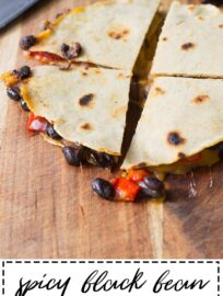 Quesadillas with spicy black beans and roasted red peppers. A filling and flavorful meatless meal!