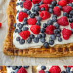A mixed berry puff pastry tart with sweetened mascarpone will be the hit of any summer party. Simple, easy, and perfect for July 4th! #july4th #summerrecipes #berryrecipes #puffpastry