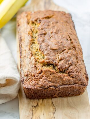 Five banana banana bread   Moist, tender banana bread packed with the dense flavor of 5 bananas in one loaf. An instant family favorite!