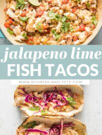 These tasty Jalapeno Lime Fish Tacos are healthy, fresh, and packed with flavor. An easy 30-minute meal to escape the weeknight dinner rut.