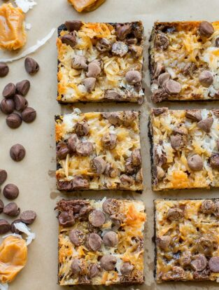 Shortcut Samoa cookie bars   Chocolate chips, caramel sauce, coconut, and an Oreo crust make an easy at-home version of the classic Girl Scout cookie.
