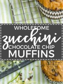 Zucchini chocolate chip muffins made with wholesome ingredients. Perfect for busy mornings, snacks, and encouraging toddlers to eat some green veggies!
