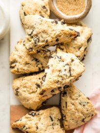 Chocolate chip scones piled on top of each other.