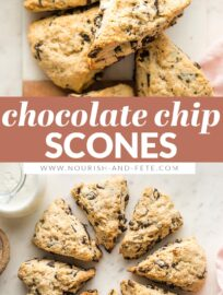 These chocolate chip scones melt in your mouth! Tender and moist on the inside, with delightfully crumbly edges. Best of all, they are super simple -- no grating butter or complicated shaping -- and can be ready to bake in about 10 minutes.