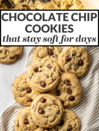 Thick, pillowy cookies stuffed full of chocolate chips that stay incredibly soft for days - if they last that long! Perfect for a quick dessert, making ahead, or shipping off to brighten a loved one's day.