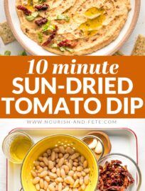 This creamy and delicious Sun-Dried Tomato Dip takes less than 10 minutes to make! Serve it with veggies, crackers, or bread for the perfect crowd-pleasing appetizer.