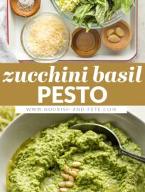 A simple recipe transforms excess zucchini into a healthy zucchini basil pesto with spinach, Parmesan, garlic, and pine nuts. Mix with pasta, add to chicken, or use anywhere you love regular pesto!