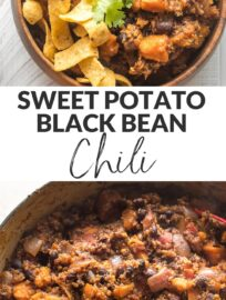 Full of flavor and so simple to make, this sweet potato black bean chili is a delightfully satisfying meatless meal. Vegetarian and vegan friendly! Tender sweet potatoes, hearty black beans, quinoa, and an easy seasoning blend make it so. Serve with avocado, cilantro, and cornbread -- or corn chips!