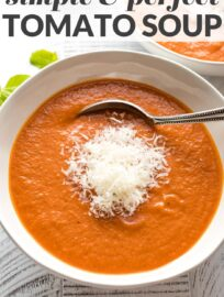 A simple recipe for creamy roasted tomato basil soup, full of flavor and naturally thickened without heavy cream or cream cheese. When I'm really craving the perfect tomato soup, this is the one!