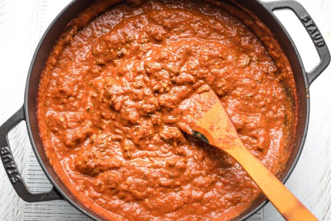 Finished bolognese sauce in a skillet.