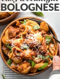 This quick and easy recipe for Weeknight Bolognese lets you enjoy a classic Italian meat sauce simplified into a 30-minute meal. It's a little bit Ina Garten, a little bit Marcella Hazan, and a whole lot of delicious.