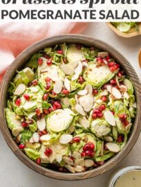This shaved Brussels sprout pomegranate salad is simple yet elegant, full of flavor and texture, and perfect to enjoy all fall and winter.