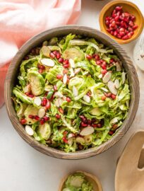 Salad with Brussels sprouts and pomegranate seeds.