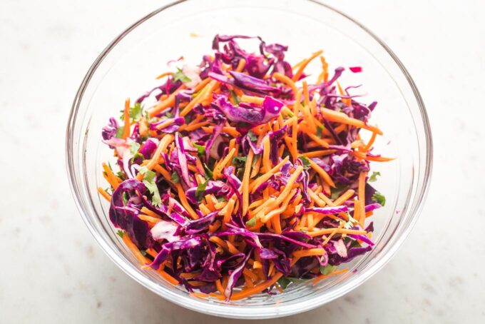 Prep bowl containing sunset slaw.