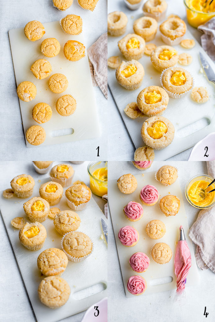 Step-by-step process of assembling filled strawberry lemonade cupcakes.