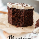 This Mexican chocolate cake is the richest, most moist chocolate cake you've ever had, kicked up with a little cinnamon and a hint of cayenne pepper! Easy to make as a sheet cake with cinnamon frosting, a perfect dessert for Cinco de Mayo. #cincodemayo #mexicanchocolate #sheetcake #cinnamonfrosting