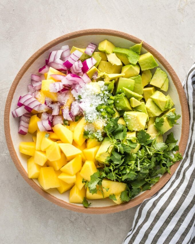 Mango, avocado, onion, cilantro, pepper, and salt in a small bowl, not mixed together.