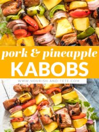These pork pineapple kabobs combine juicy marinated cubes of meat, sweet chunks of pineapple and mango, and colorful veggies. If you're looking for something a little new and exciting to grill, these pork kabobs are always a winner!