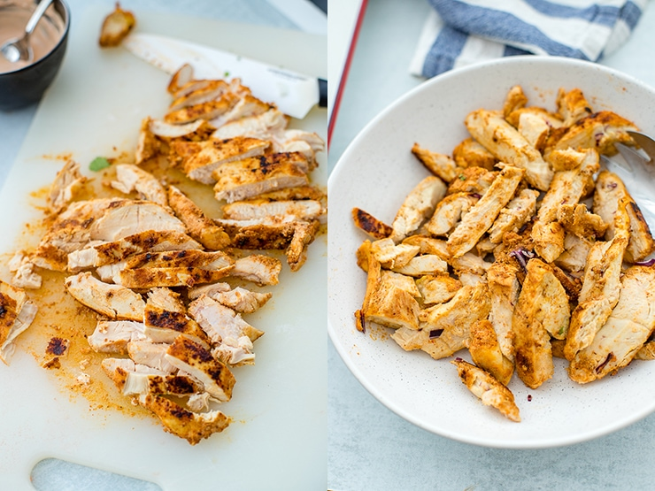 Sauteed chicken breasts for tacos.