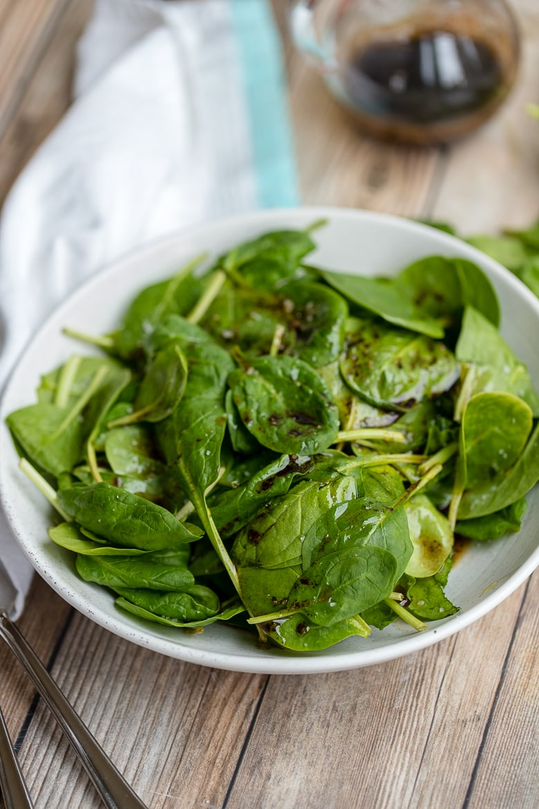 Balsamic Spinach Salad With Sea Salt Nourish And Fete