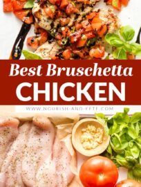 This easy Bruschetta Chicken recipe is bursting with fresh Italian flavors and ready in less than 30 minutes. Tender chicken is topped with juicy tomato-basil bruschetta and drizzled with a sweet balsamic glaze for a simple meal that feels elevated.