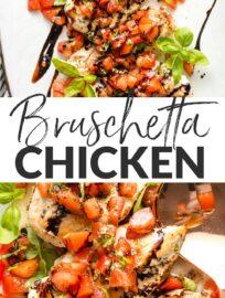 White platter filled with bruschetta chicken, ready to serve.