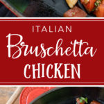 Easy dinner recipes don't come more delicious than this Italian bruschetta chicken with balsamic glaze - juicy, seasoned chicken breasts topped with fresh tomatoes and the perfect balance of Italian herbs. Ready in less than 30 minutes! #easydinnerrecipes #chickenrecipes #bruschettachicken