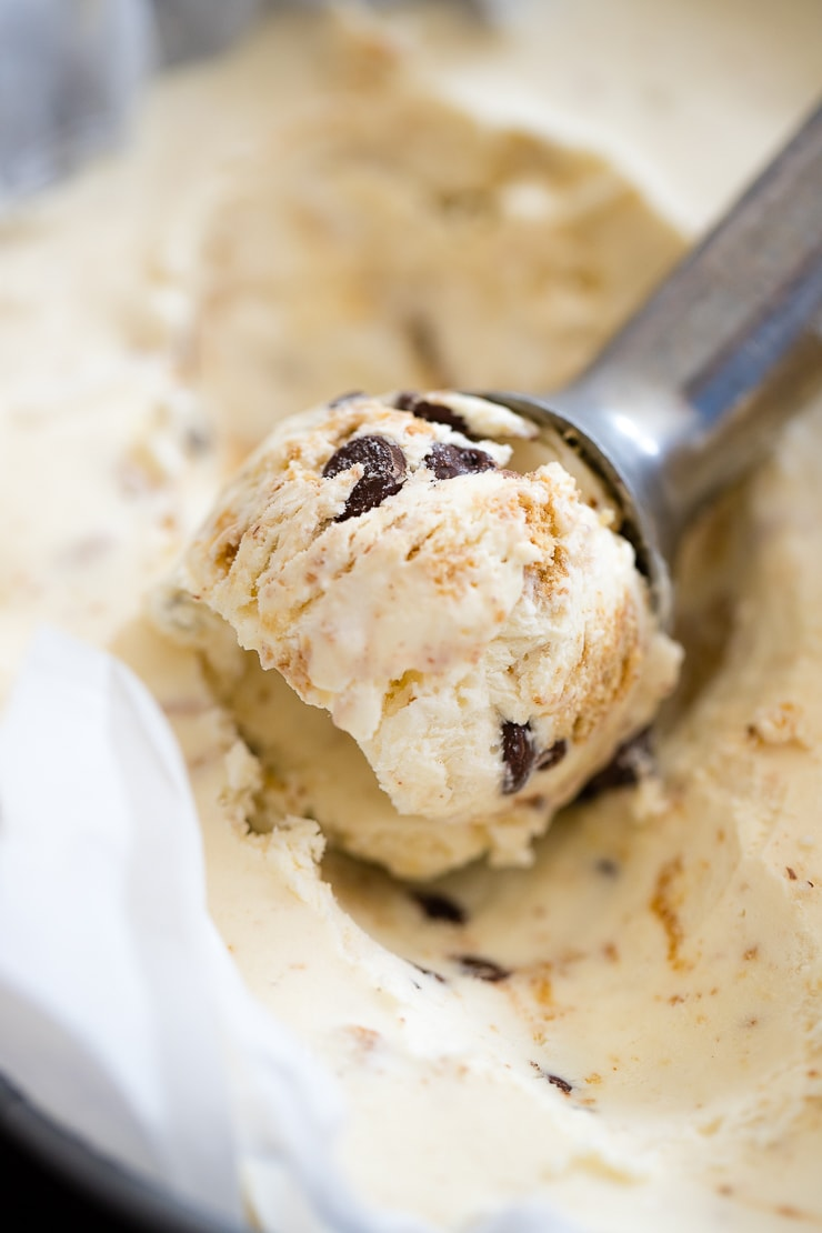 Close-up of a scoop of no churn s'mores ice cream.