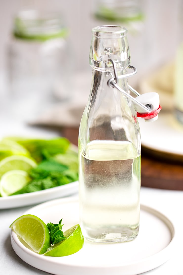 Glass bottle of simple syrup.