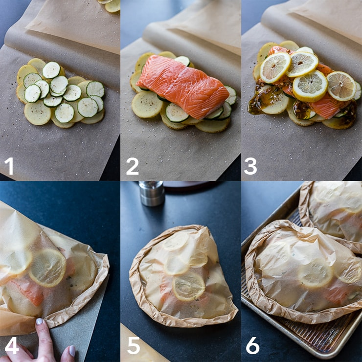 Step-by-step photos of baking salmon in parchment paper.
