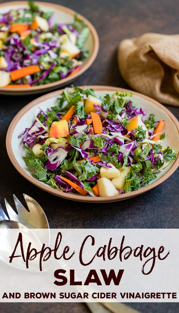 The best fall salad is this apple cabbage slaw with brown sugar cider vinaigrette dressing! Easy to make, light, and delicious, perfect on its own or with pulled pork, chicken, BBQ, and more! #cabbage #slaw #fallsalads #applerecipes