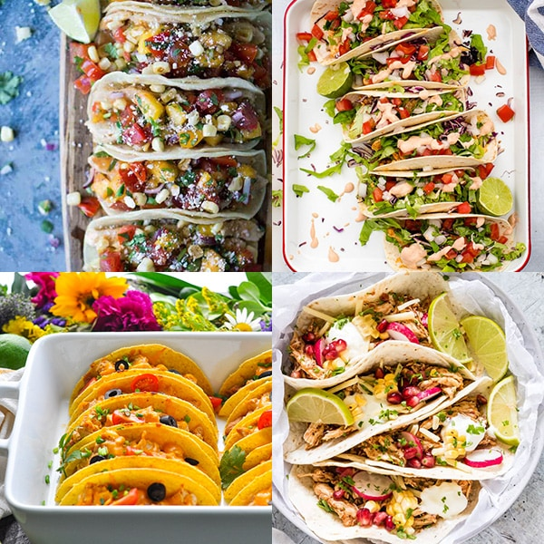 Collage of four chicken taco recipes.