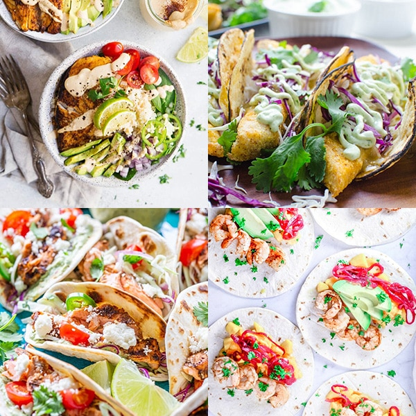 Collage of four fish taco recipes.