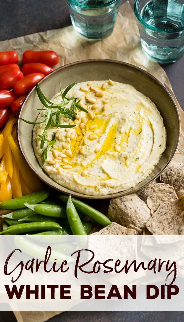 The perfect after school snack recipe, or game day dip, this garlic rosemary white bean dip is easy, healthy, and delicious! #afterschoolsnacks #beandip