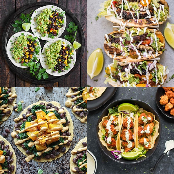 Collage of four vegetarian and vegan taco recipes.