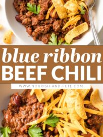 This classic Blue Ribbon Chili with beef and beans is the ultimate comfort food for cool weather, football watching, and potlucks. Plus it's the easiest chili recipe you'll ever make!