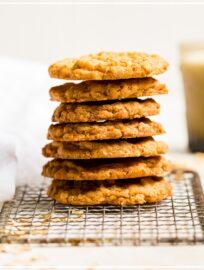 A stack of crisp oatmeal cookies.
