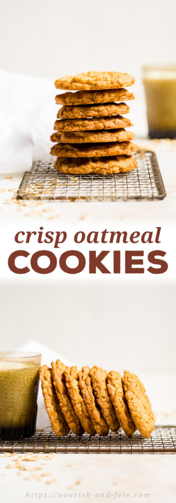An easy recipe for crisp oatmeal cookies with an ever-so-slightly chewy center. Perfect for a simple sweet snack and dunking into a cold glass of milk! #oatmealcookies #baking #bakingrecipes