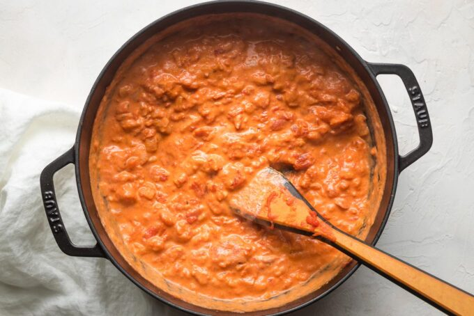 Cream fully mixed in to form vodka sauce.