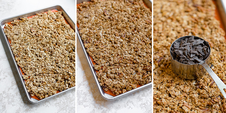 Three photos showing how homemade granola progresses from light to golden brown as it bakes.