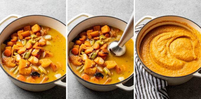 Step by step photos of roasted squash and other veggies being blitzed with an immersion blender into a creamy soup.